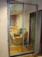 Двери купе встроенные зеркальные с Матированием