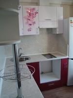 """Кухонный гарнитур """"Малина металлик и Белый металлик"""" фотопечать орхидея 1.9х1.8м"""