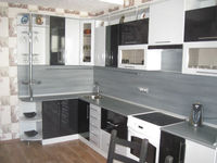 "Кухонный гарнитур ""Черный и Белый металлик"" 3.7х1.6 метра"