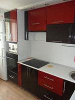 """Кухонный гарнитур """"Черный и красный металлик"""" 2.75х1.5 метра"""