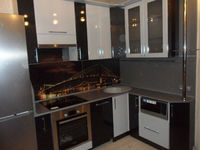 "Кухонный гарнитур ""Черный и белый металлик"" 2.15х1.78 метра"